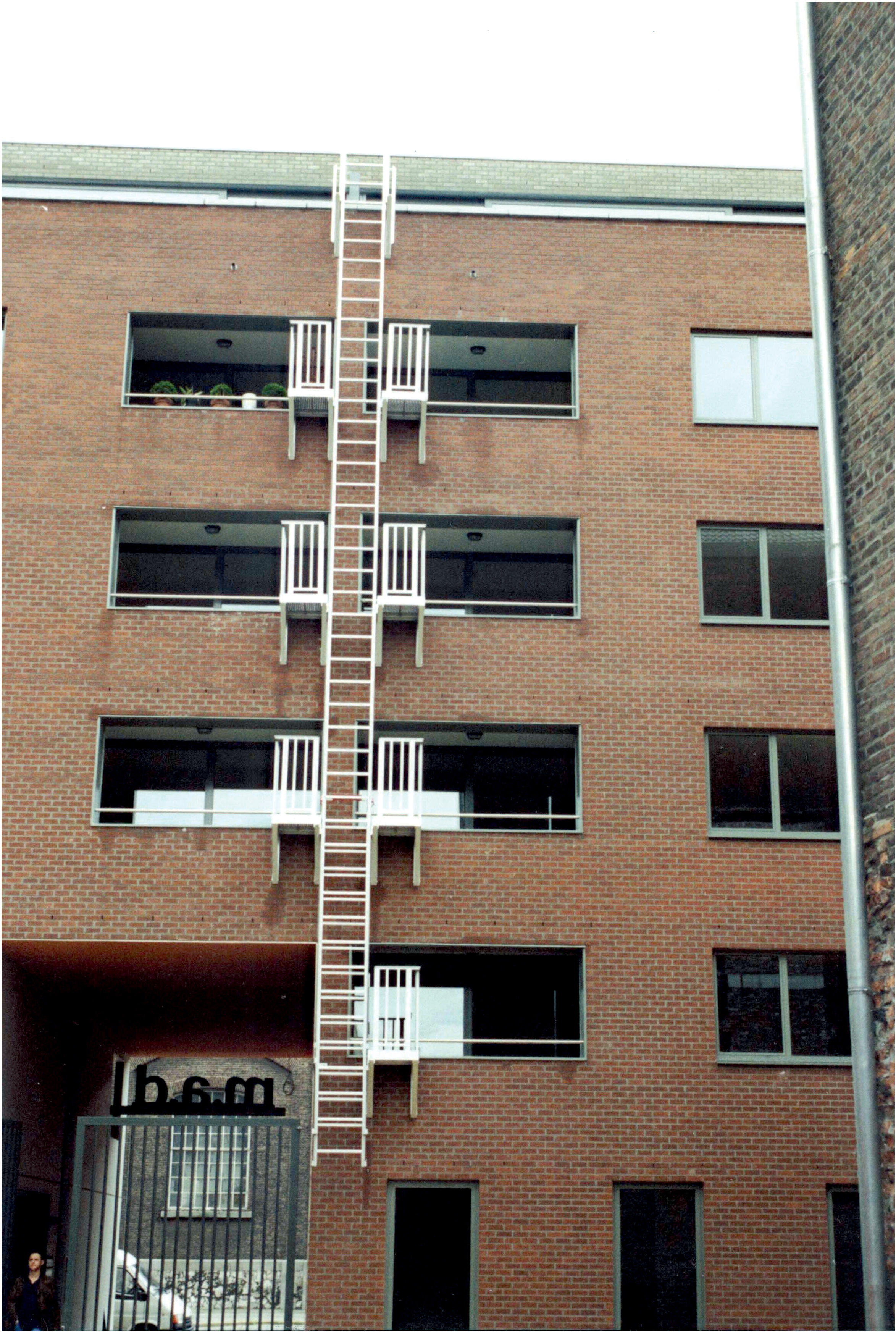White painted aluminum egress ladder antwerp version